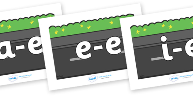 Modifying E Letters on Roads (Plain) - Modifying E, letters, modify, Phase 5, Phase five, alternative spellings for phonemes, DfES letters and Sounds