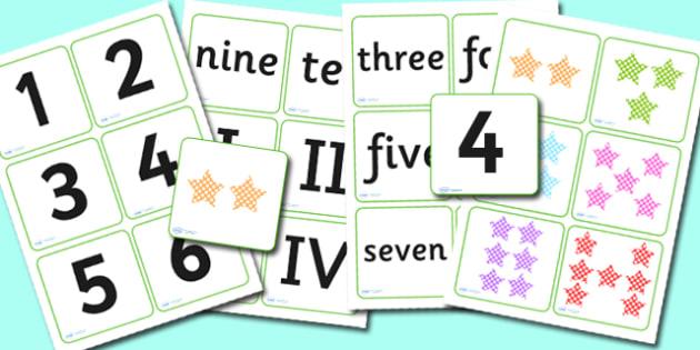 Roman Numerals Matching Cards - roman, roman numerals, matching