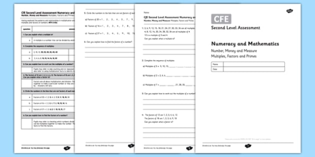 Second Level Assessment Numeracy and Mathematics Number, Money and Measure - Multiples, Factors and Primes - CfE, assessment, number, numeracy
