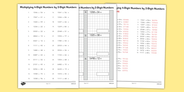 Multiplying 4 Digit Numbers by 2 Digit Numbers Activity Sheet Pack - multiplying, numbers, activity, sheet, maths, numeracy, 4 digit, worksheet