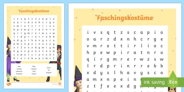 Carnival Costumes Word Search - Carnival, Fasching, Cosumes, Karneval, Fancy dress,German