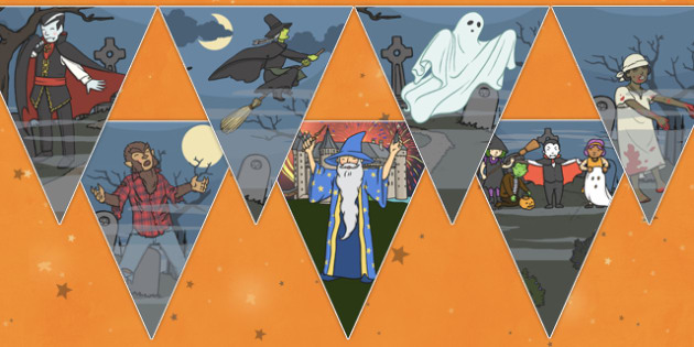 Halloween Party Bunting - celebration, festival, bunting, display