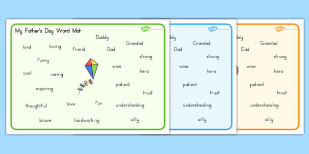 Fathers Day Descriptive Word Mat - visual aid, adjectives, dad