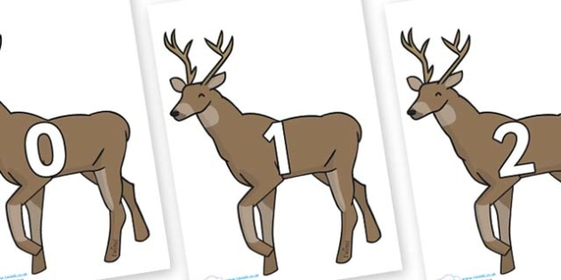 Numbers 0-31 on Stags - 0-31, foundation stage numeracy, Number recognition, Number flashcards, counting, number frieze, Display numbers, number posters