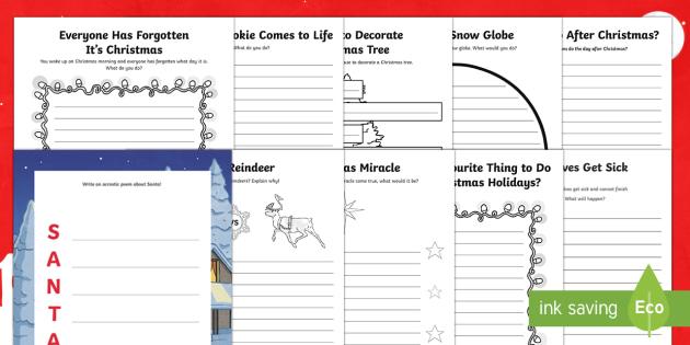 Christmas Writing Prompts and Writing Frames - Christmas, writing, robin, elves, santa, gingerbread, snow globe, reindeer