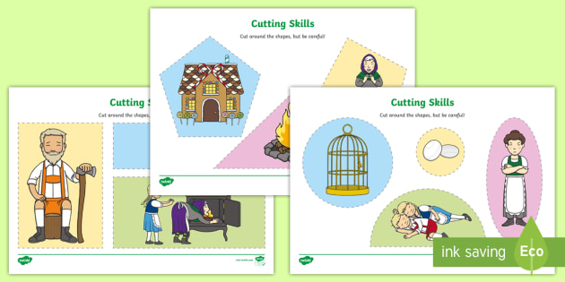 Hansel and Gretel Themed Cutting Skills Worksheet - traditional tales, cut