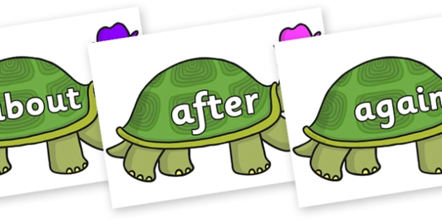 KS1 Keywords on Tortoise - KS1, CLL, Communication language and literacy, Display, Key words, high frequency words, foundation stage literacy, DfES Letters and Sounds, Letters and Sounds, spelling