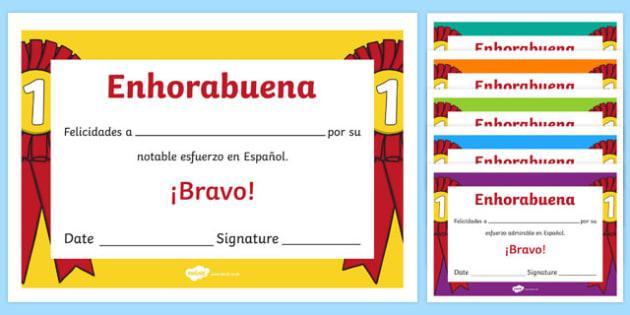 Spanish End of Year Effort Award Certificate