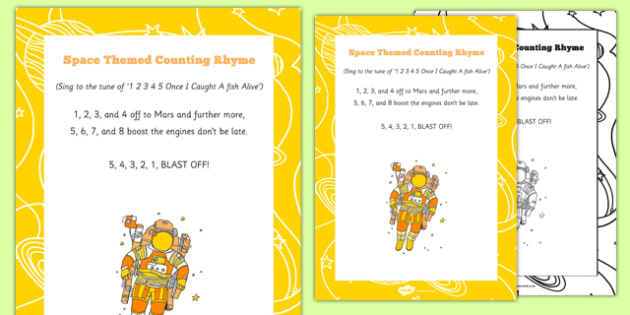 Space Themed Counting Rhyme - Song, planets, planet, astronaut