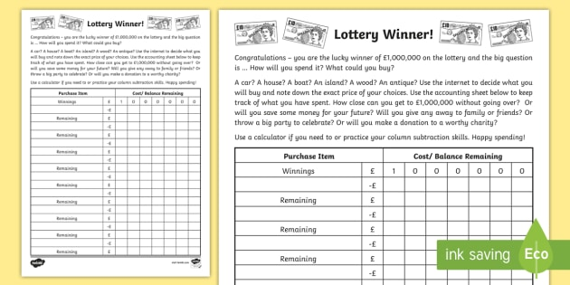 Lottery Winner Accounting Template Worksheet - Accounting