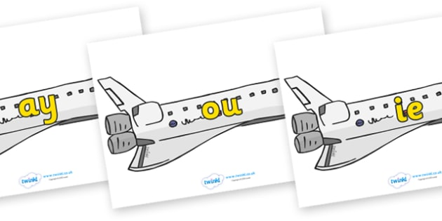 Phase 5 Phonemes on Space Shuttles - Phonemes, phoneme, Phase 5, Phase five, Foundation, Literacy, Letters and Sounds, DfES, display