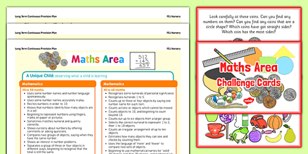Maths Area Continuous Provision Poster and Challenge Cards Pack Nursery FS1 - continuous, pack