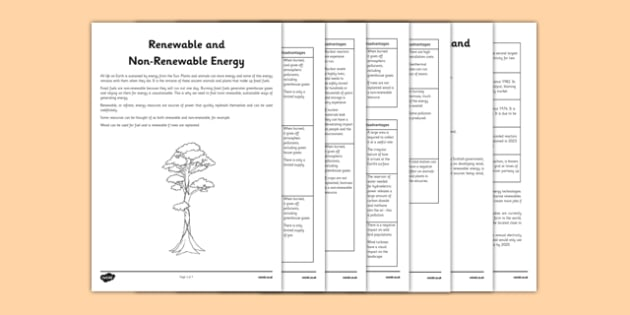 Scotland Renewable and Non-Renewable Energy Information Sheets - CfE, Science, Second Level, Energy Sources, Scotland