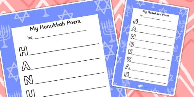 Hanukkah Acrostic Poem - acrostic poems, acrostic poem, acrostic, poem, poetry, hanukkah, celebration, festival of lights, jewish holiday, literacy, writing activity, activity