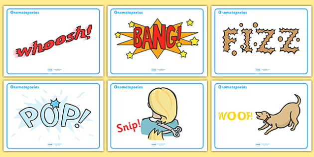 Onomatopoeia Display Posters - onomatopoeia, display, poster, sign, KS2, grammar, buzz, bang, pop, snip, type, words