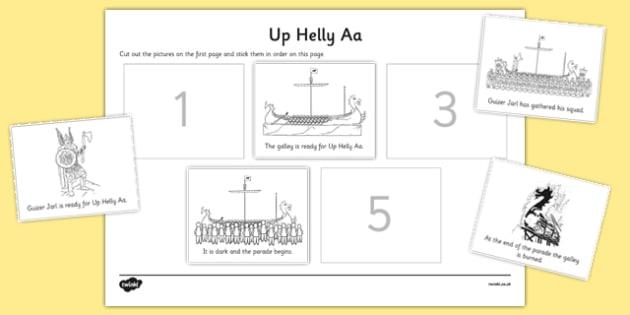 Up Helly Aa Sequencing Sheets - CfE, Vikings, Scotland, Shetland, fire festival, longship