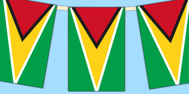 Guyana Flag Display Bunting - countries, geography, flags, flag