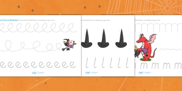 Pencil Control Sheets to Support Teaching on Room on the Broom - room on the broom, pencil control, themed pencil control sheets, room on the broom pencil control