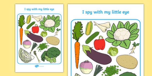 Vegetable Themed I Spy With My Little Eye Activity Sheet - i spy with my little eye, i spy, activity, vegetable, worksheet