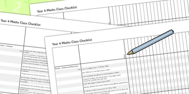 2014 Curriculum Year 4 Maths Assessment Class Checklist - numeracy