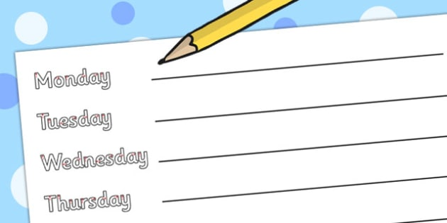 Days of the Week Practice Writing Worksheets - days, week, practise, writing