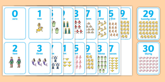Traditional Tales Themed Number Flash Cards 0-20 - traditional tales, story books, fairy tales, number, flash cards