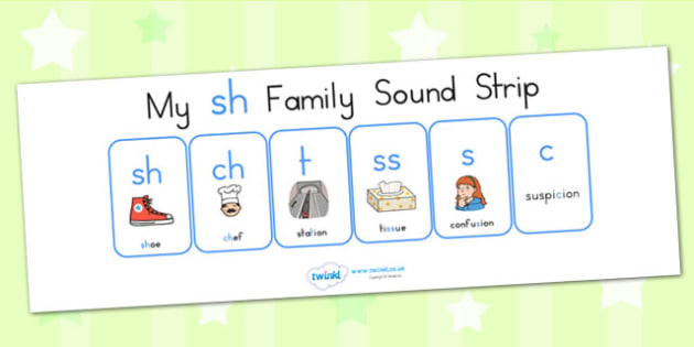 My Sh Family Sound Strip - sound family, visual aid, literacy