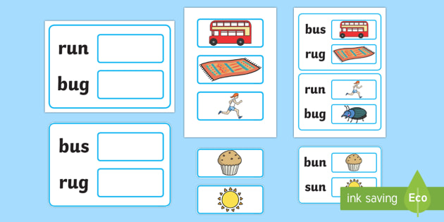 Workstation Pack:  Picture to CVC (u) Two Word Matching Activity