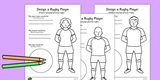 Design a Rugby Player Worksheet Polish Translation - polish, design, rugby player
