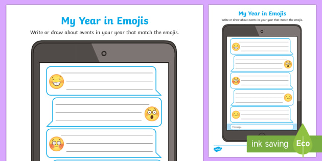 My Year in Emojis Activity Sheet-Australia, moji