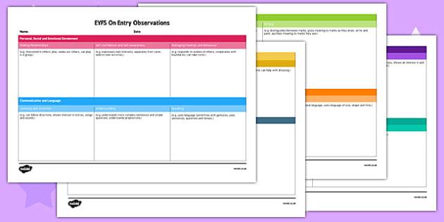 EYFS On Entry Observation Record - baseline assessment, eyfs, on entry, observation, record