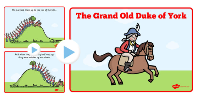 The Grand Old Duke of York PowerPoint - grand old duke of york, powerpoint, song, nursery rhyme, grand old duke of york presentation, sing along