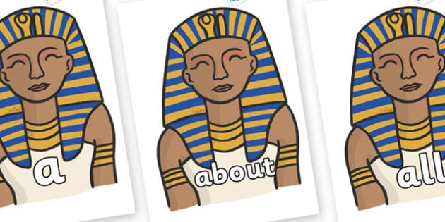 100 High Frequency Words on Pharaoh - High frequency words, hfw, DfES Letters and Sounds, Letters and Sounds, display words