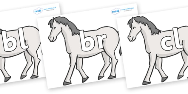 Initial Letter Blends on Horses - Initial Letters, initial letter, letter blend, letter blends, consonant, consonants, digraph, trigraph, literacy, alphabet, letters, foundation stage literacy