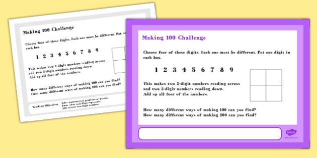 Making 100 Maths Challenge A4 Display Posters - challenge, math
