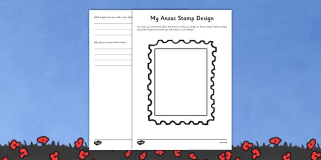 Anzac Stamp Design Worksheet - australia, Australian Curriculum, 3-4, Events, ANZAC Day AND Australian Curriculum,  5-6, Events, ANZAC Day