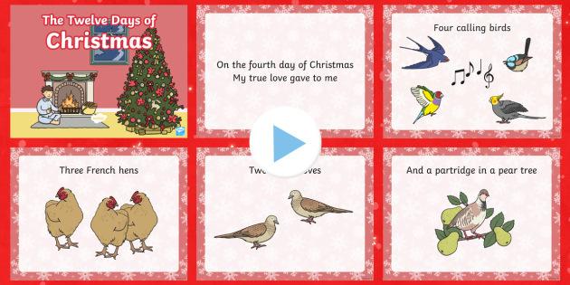 12 Days Of Christmas Carol Lyrics PowerPoint - 12 days of christmas, christmas, christmas carol, powerpoint, lyrics, lyrics powerpoint, christmas songs