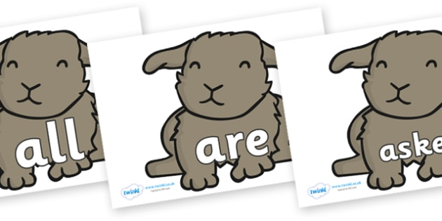 Tricky Words on Rabbits - Tricky words, DfES Letters and Sounds, Letters and sounds, display, words