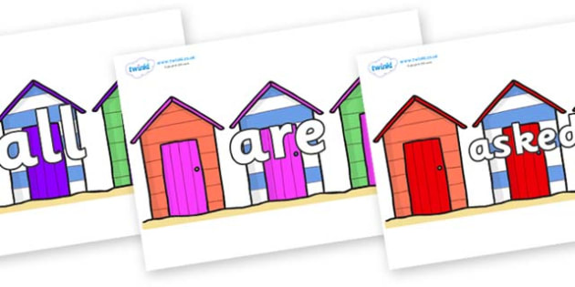Tricky Words on Beach Huts - Tricky words, DfES Letters and Sounds, Letters and sounds, display, words