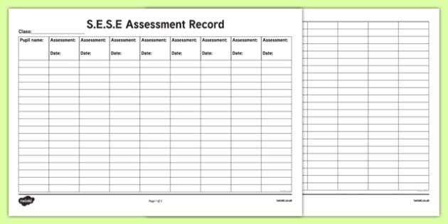 ROI S.E.S.E. Assessment Record Checklist-Irish