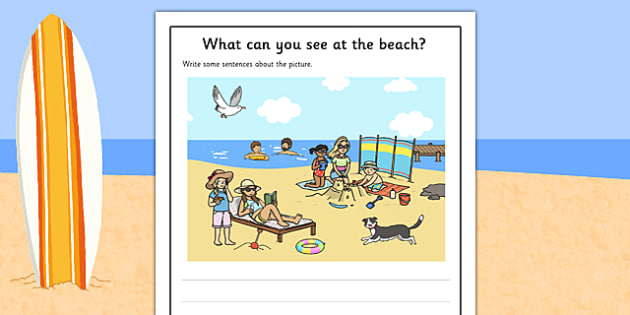 Beach Scene Writing Stimulus Picture Activity Sheet, worksheet