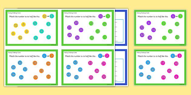 Halving Challenge Cards - halving, challenge cards, challenge, cards, halve