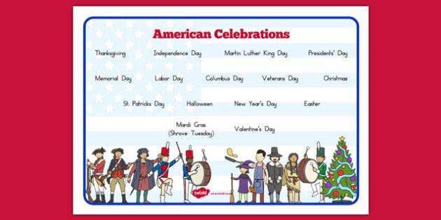 American Celebrations Word Mat - usa, america, american celebrations, celebrations, word mat