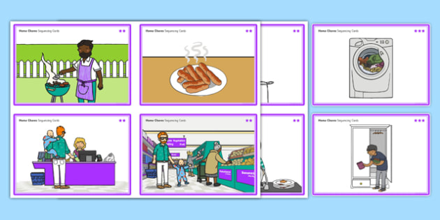 Home Chores Sequencing Cards Differentiated - gaeilge, Sequencing cards, Household jobs, tasks, chores, Ordering, Chronology, Sorting, Aistear Homes Plan, ireland, irish, roi