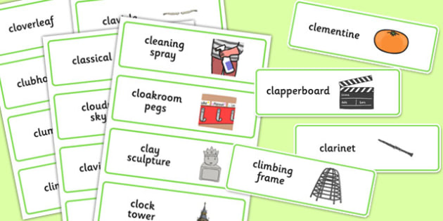 Three Syllable CL Word Cards - three syllable, cl, word cards, word, cards, cl sound