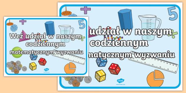 Try Our Daily Maths Challenge Display Poster Polish-Polish