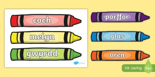 Colour Words on Crayons - cymraeg, colour, words, crayons, colour words