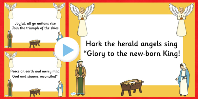 Hark the Herald Angels Sing Christmas Carol Lyrics PowerPoint - hark the herald angels sing, christmas, christmas carol, lyrics powerpoint, christmas songs