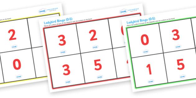Ladybird Bingo (0-5) - Ladybird, bingo, number game, 0-5, Number words, Numerals, Foundation Numeracy, Number recognition, Number flashcards, minibeasts