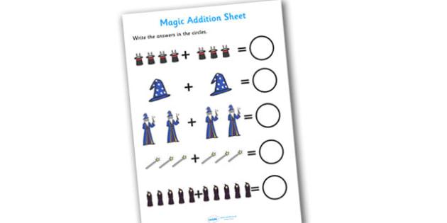 Magic Themed Addition Sheet - magic themed, addition sheet, addition, addition worksheet, magic themed worksheet, magic themed addition sheet